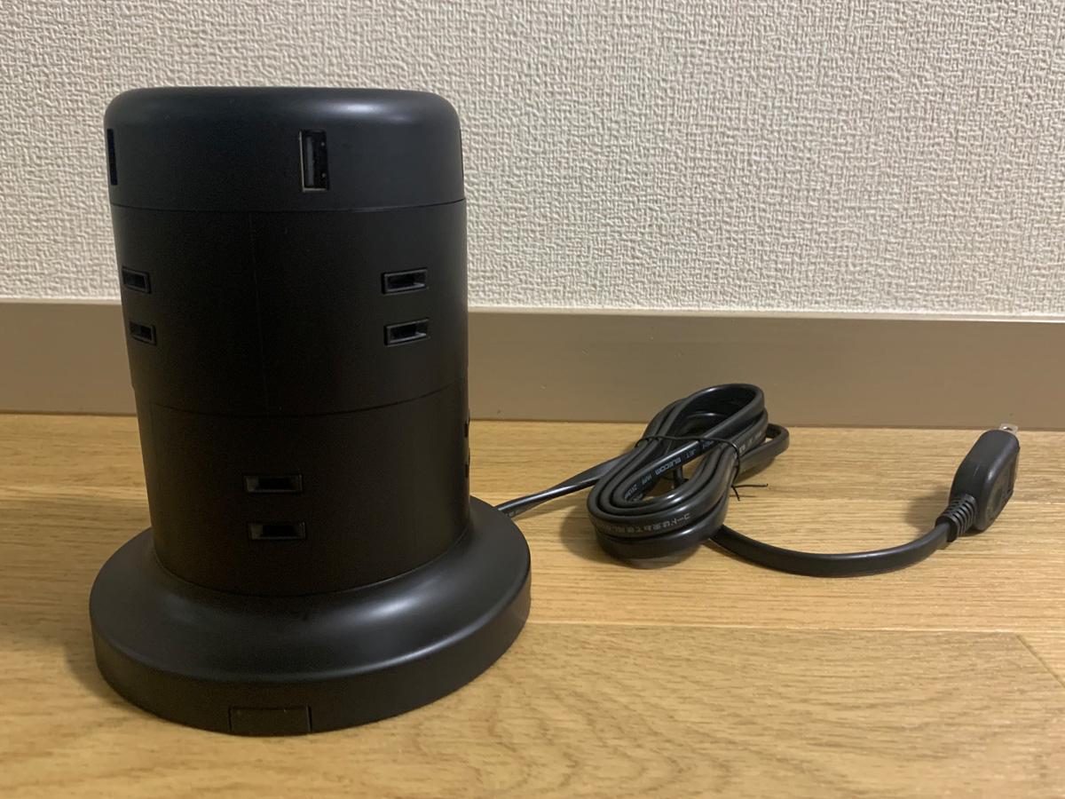 エレコム 電源タップ タワー型 ECT-0620BK 本体