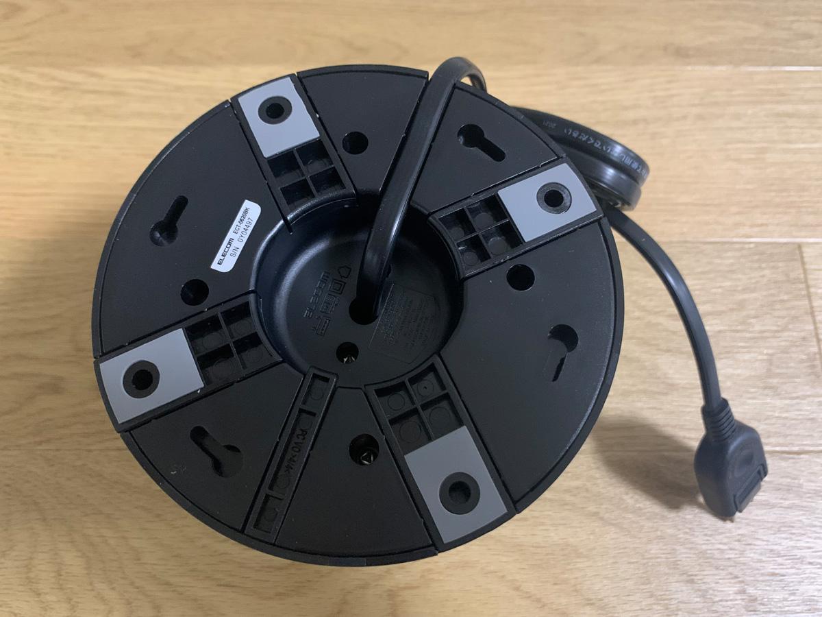 エレコム 電源タップ タワー型 ECT-0620BK 底面